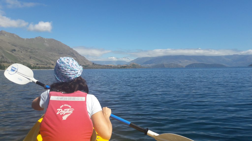 Kayaking Lake Wanaka.