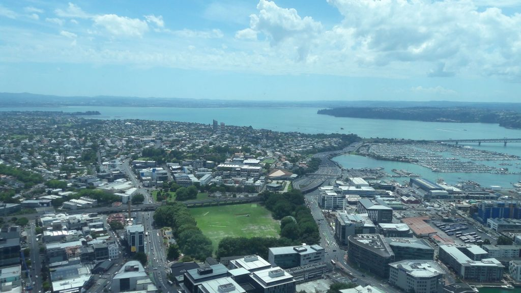 The view of the Auckland city from the Sky Tower