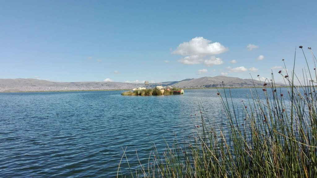 Small islands called Uros on Lake Titicaca