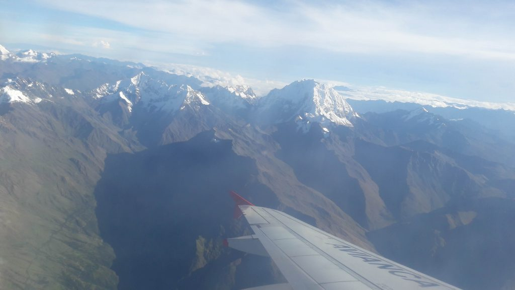 Flying over Andes towards Cusco.