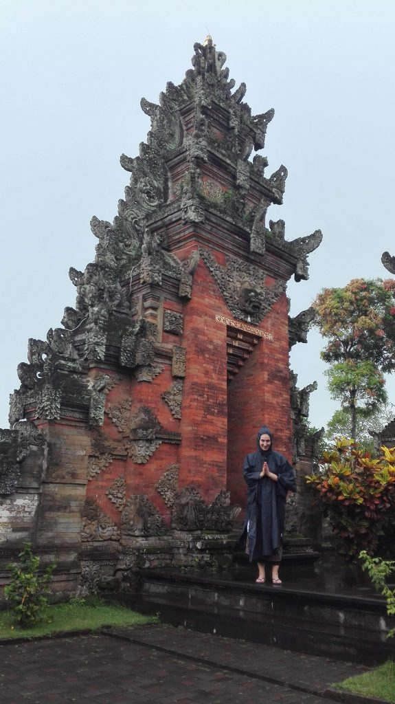 Visiting one of many temples in Bali.