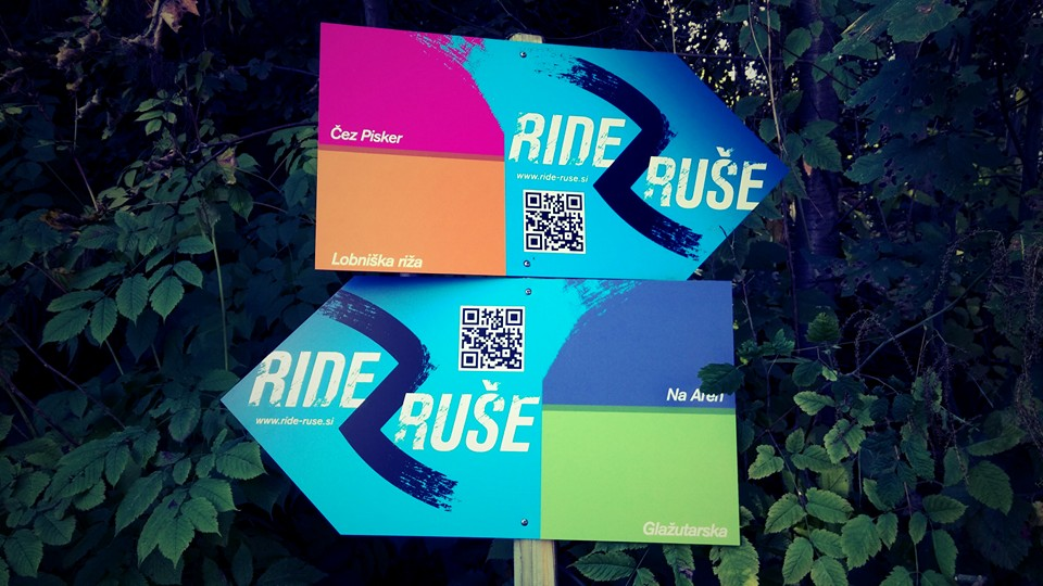 Ride Ruše signs for bike trails