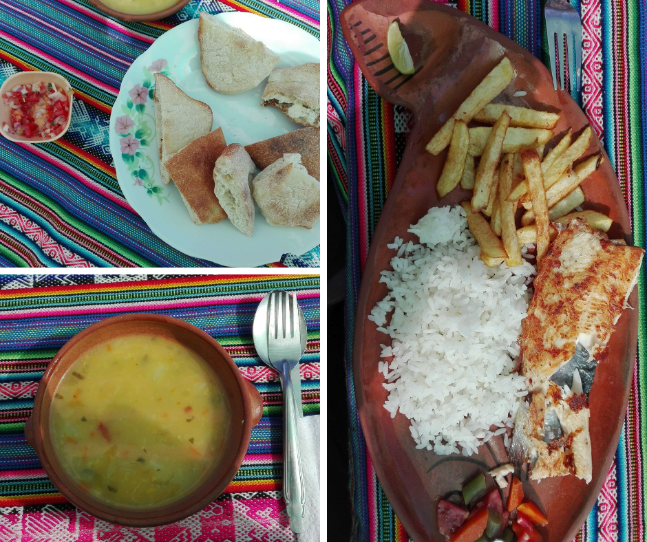 Typical food at Taquile island.