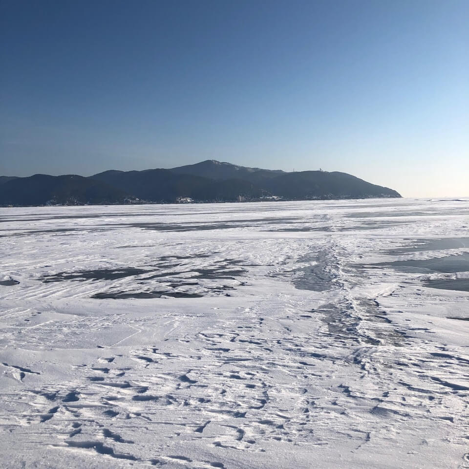 hike across the frozen surface of Lake Baikal