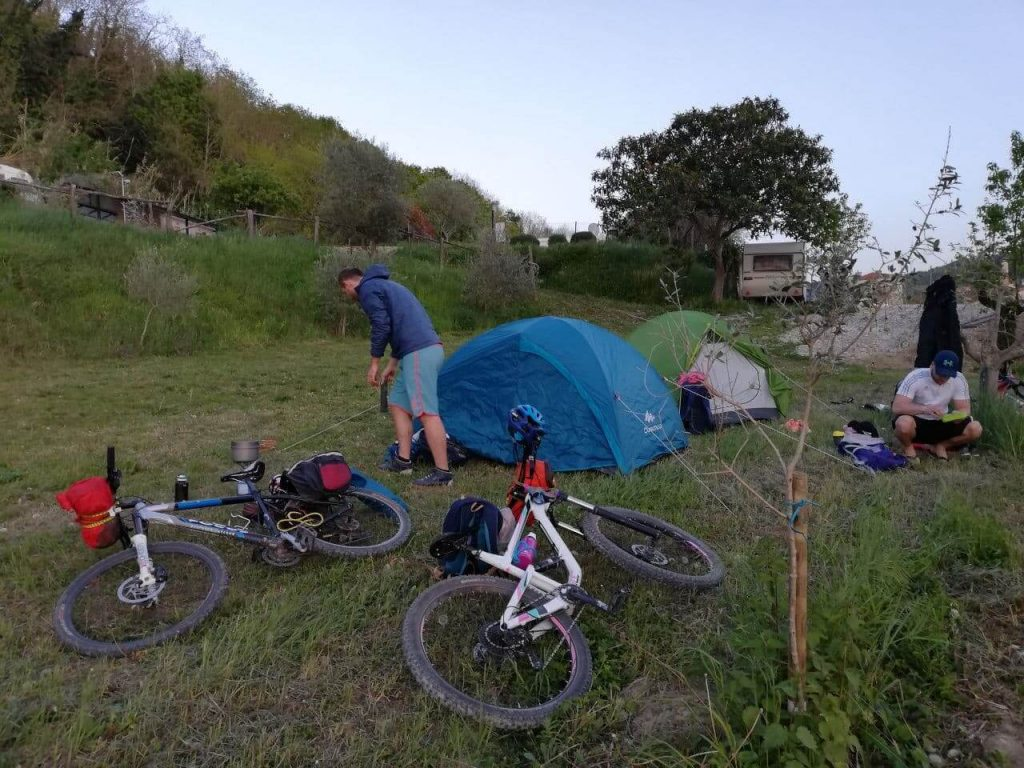 Setting at Motovun campsite